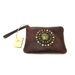 Patricia Nash Brass & Chocolate Leather Wristlet